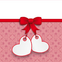 2 Heart Stickers Ornaments Red Ribbon