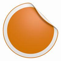 Aufkleber rund - Ecke gebogen orange