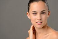 Teenage girl face cosmetics skin care close-up