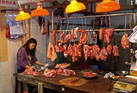 At the butcher's on the meat market, Hong Kong