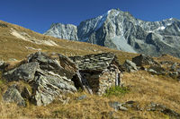 Shephard stone hut in the Val d'Hérens,Switzerland