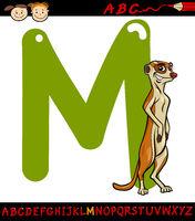 letter m for meerkat cartoon illustration
