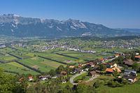 Blick von Planken über das Rheintal zum Alpstein Gebirge