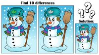 Find differences theme with snowman - picture illustration.