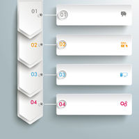 Infographic 4 Steps White Arrows Banners PiAd