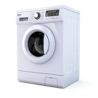 Washing machine on white isolated background.