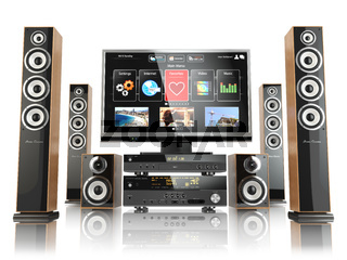 Home cinemar system. TV,  oudspeakers, player and receiver  isolated on white.