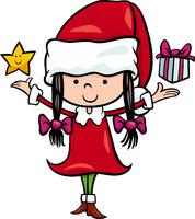santa claus girl cartoon illustration