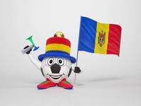 Soccer character fan supporting Moldova