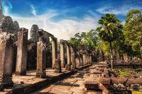 Bayon temple at sunset. Angkor Wat, Cambodia