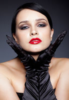 Woman with black gloves