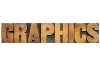 graphics word in wood type