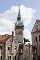 Dankwarderode castle and Brunswick Cathedral, St. Blasii, Brunswick, Germany