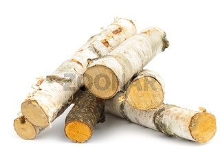 An image of firewood on white background