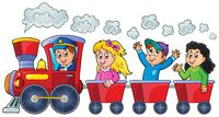Train with happy kids - picture illustration.