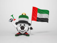 Soccer character fan supporting United Arab Emirates