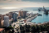 Aerial view of Malaga port. Spain