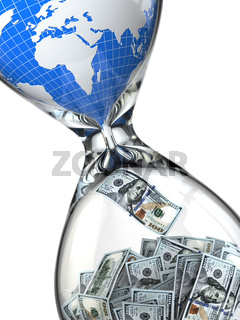 Hourglass, money and earth. Consumption of natural resources.