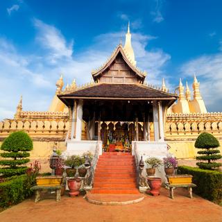 Golden buddhist pagoda. laos