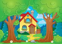 Tree theme with house - picture illustration.