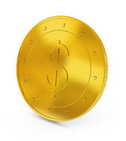 Gold coin.  Raster illustration isolated