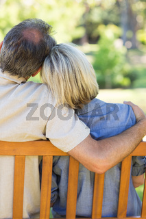 Couple relaxing on bench in park