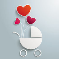 White Paper Baby Buggy 3 Balloon Hearts