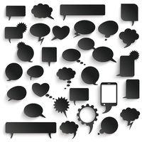 Big Set Black Paper Communication Bubbles Shadows PiAd