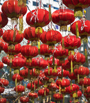 The traditional red lanterns decorating the Chinese city