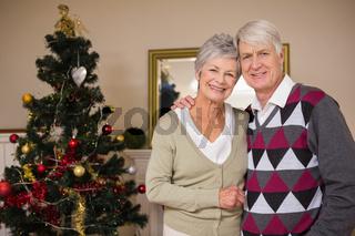 Senior couple smiling beside their christmas tree