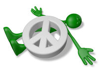 cartoonfigur liegt unter peace-symbol - 3d illustration