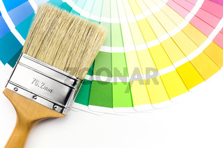 Coloured swatches and paint brush