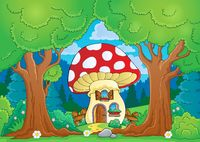 Tree theme with mushroom house - picture illustration.