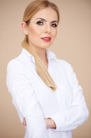 Woman in White Long Sleeve Shirt with Collar