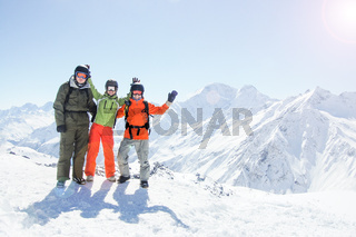 Snowboarders in the mountains