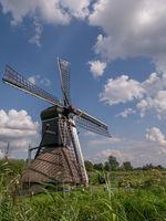 Vertical shot of windmill in Drenthe