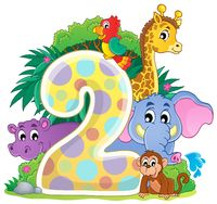 Happy animals around number two - picture illustration.