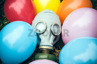 Gas mask with balloons