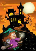 Haunted mansion Halloween theme - picture illustration.