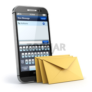 Mobile phone with short message service. Sms on the screen.
