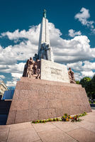 Freedom Monument known as Milda, located in the centre of Riga, the capital of Latvia