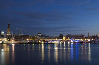 The harbor of Hamburg with St. Michaelis, Germany