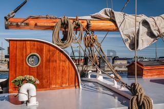 Masts and sails of a tall sailing ship