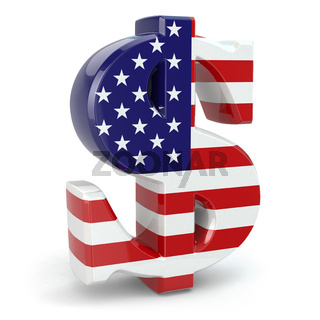 Dollar currency sign and USA flag.