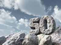 nummer fünfzig aus stein - 3d illustration