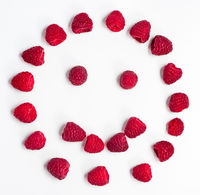 Raspberries form a smiley