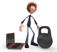 The 3D teenager with the computer and the weight.