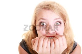 Afraid businesswoman frightened woman. Stress in work.