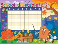 School timetable composition 3 - picture illustration.