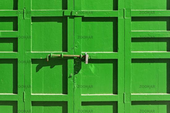 Door lock on a wooden door